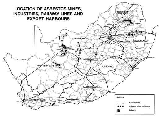 Map showing locations of asbestos industries, mines etc, South Africa