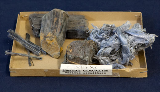 Raw Crocidolite (blue asbestos) and asbestos wool.